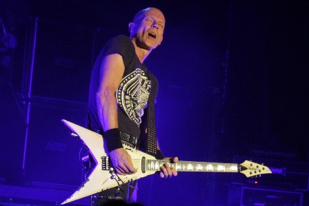 Wolf Hoffmann and his Flying V guitar