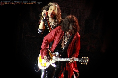 Joe Perry and Steven Tyler with Aerosmith live in Clisson