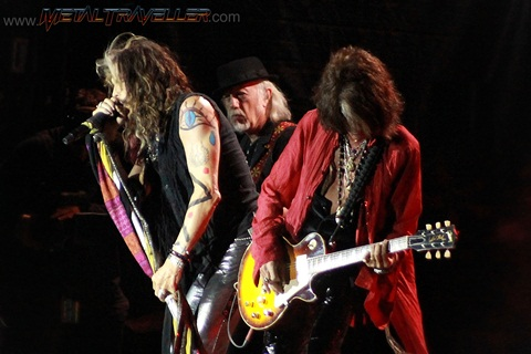 Steven Tyler, Brad Withford and Joe Perry from Aerosmith live in Clisson