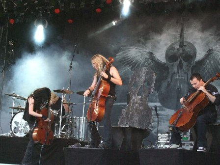 Perttu Kivilaakso, Mikko Sirén, Eicca Toppinen and Paavo Lötjönen from Apocalyptica live at Sweden Rock Festival, Sweden, June 2008