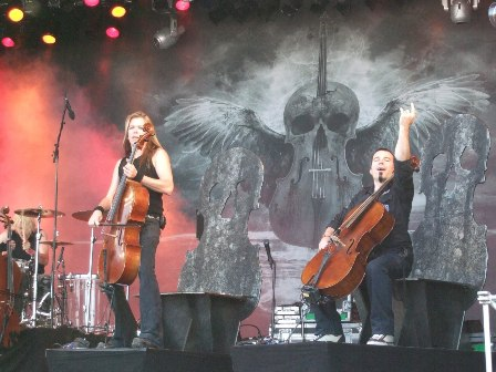 Eino Matti Toppinen and Paavo Lötjönen from Apocalyptica live at Sweden Rock Festival, Sweden, June 2008