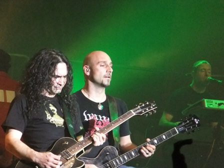 Sascha Paeth from heaves Gate and Olliver Hartmann from At Vance playing guitar with Avantasia in Fulda