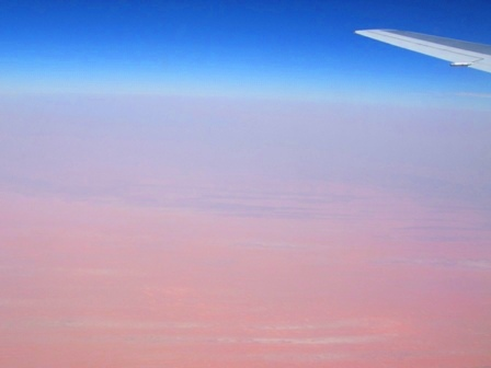 Flying over the Sahara Desert, on the way from Frankurt to Salvador