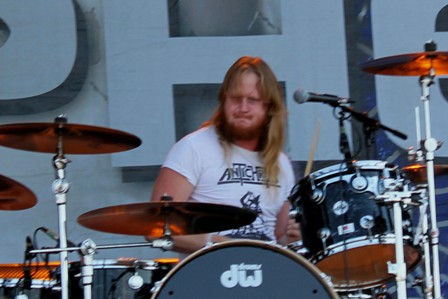 Gustav Hjortsjö on drums - Bullet live at Sonisphere Madrid