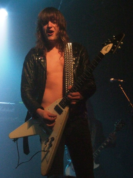 Hampus Klang from Bullet on stage in Paris, October 6 2008