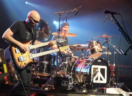 Chad Smith and Joe Satriani witha double guitar