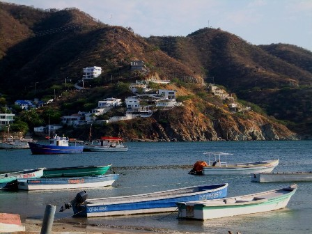 Boats by the sea and the hills around Taganga
