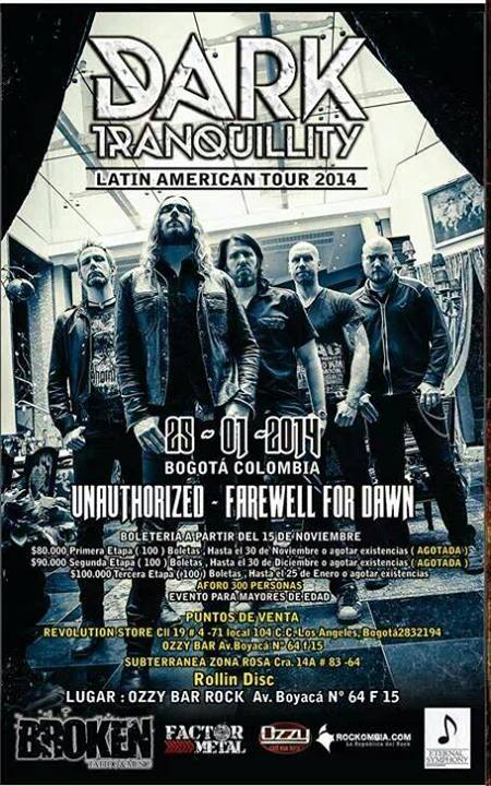 Poster for the Dark Tranquillity concert in Colombia