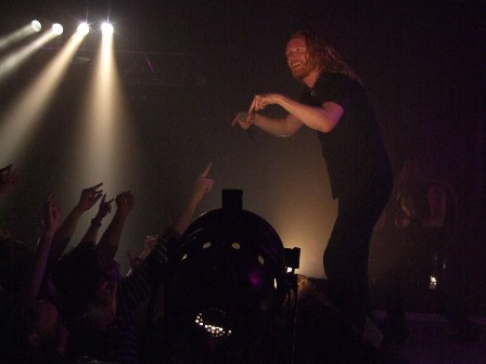 Mikael Stanne of Dark Tranquillity playing with the audience at La Locomotive, Paris, France, October 28 2008