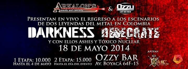 Poster for Darkness and Desecrate at Ozzy Bar