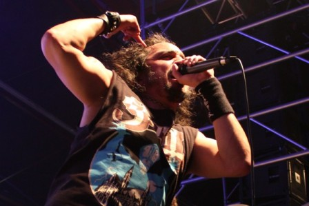 Mark Osegueda performing with Death Angel at the Alcatraz Metal Festival Belgium