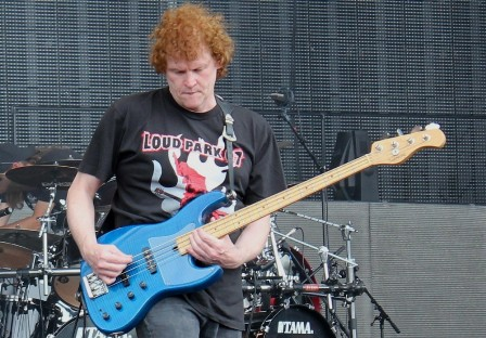 Bass player Eddie Moohan, live with Diamond Head