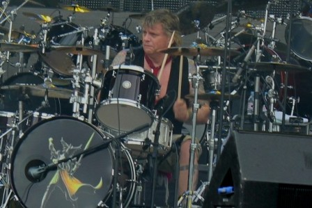 Karl Wilcox on drums with Diamond Head - Sonisphere France Festival