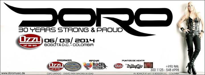 Poster for the Doro concert in Colombia