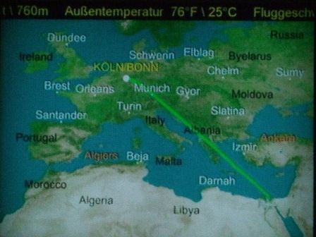 The flight from Cologne to Cairo