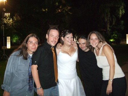 Party in Ashdod, Israel, at Jakeline's wedding! Andy, Ricardo, Jakeline, Camilo and Denisse