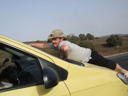 Ricardo trying a new way to ride, Golan Heights, Israel.