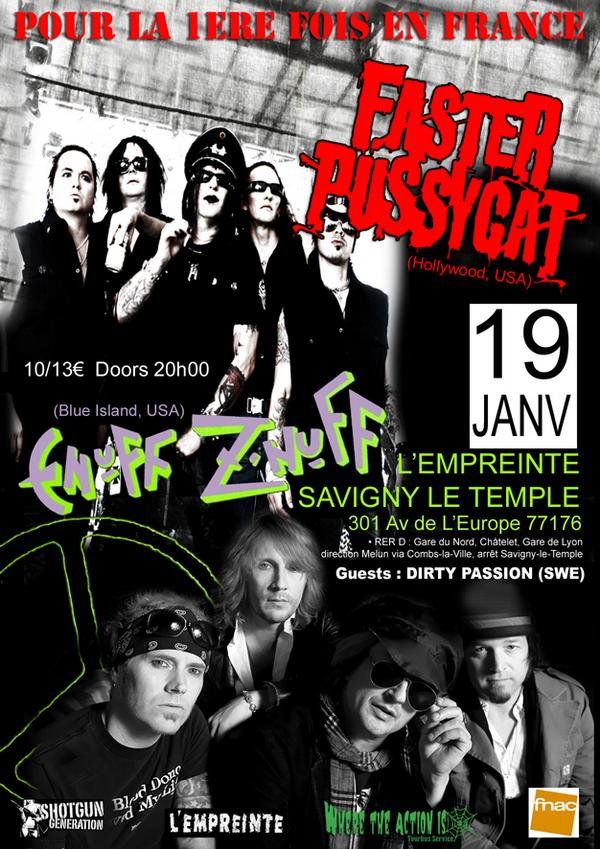 Poster and flyer for Enuff Z'Nuff live in Paris