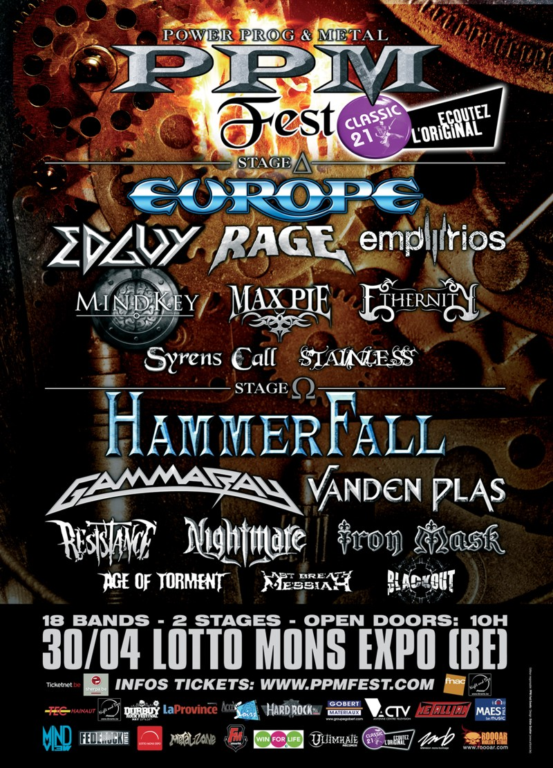 Power Prog and Metal Festival in Mons, Belgium, headlined by Europe