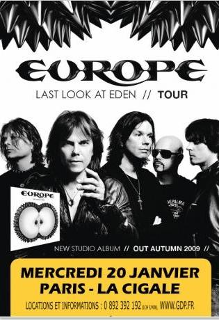 Poster and flyer for Europe live at La Cigale