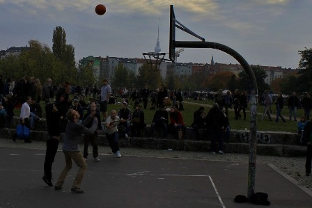 Playing basketball in Berlin's Mauerpark, Germany
