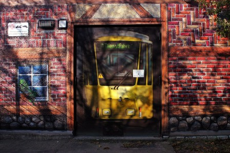 A tramway painting on the wall, Mauerpark, Berlin