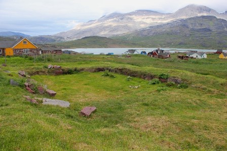 The ruins of one of the Garðar stables at the Bishop Farm, in the village of Igaliku, Greenland