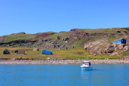 Arriving by boat in Qassiarsuk, Greenland