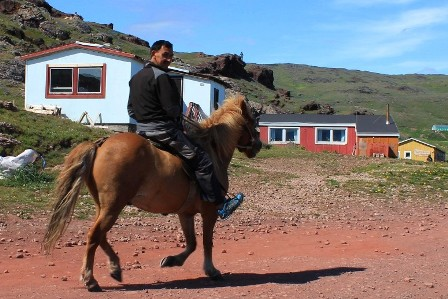 A horse rider in Qassiarsuk, Greenland