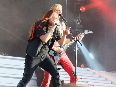 Oskar Donjak and Joacim Cans from Hammerfall live at Wacken Open Air