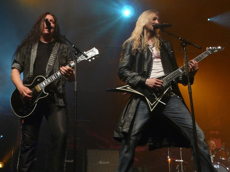 Pontus Norgren and Oscar Dronjak with Hammerfall live in Belgium