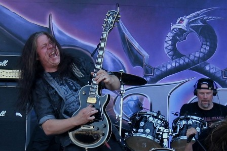 Pontus Norgren on guitar with Hammerfall at the Sonisphere Madrid