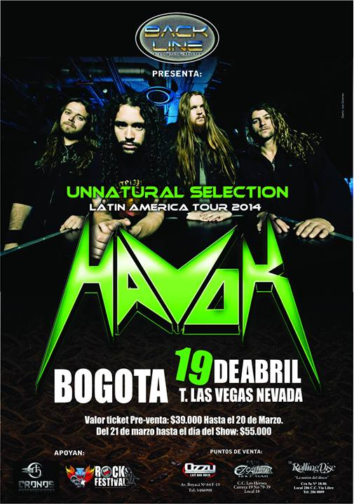 Poster for the Havok concert in Colombia