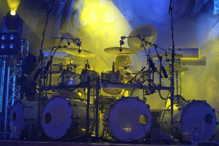 Dani Löble on drums, live with Helloween