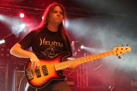 Matej Sušnik on bass live with Helstar