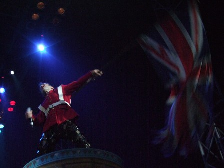 The Trooper: Bruce Dickinson with the UK Flag - Iron Maiden in Belgrade Arena, Serbia - February 10 2009