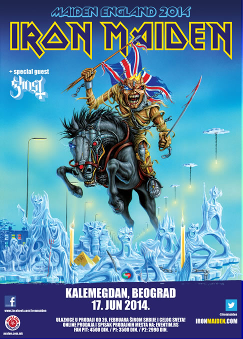 Maiden England - poster for Iron Maiden live in Belgrade