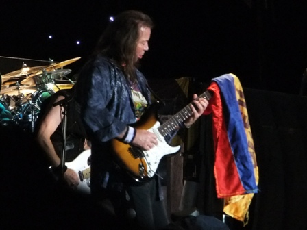 A Colombian flag on Dave Murray's guitar