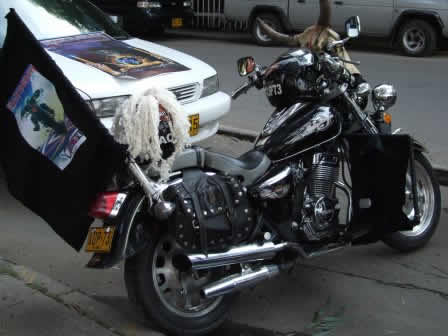 A Harley Davidson customized for that day!