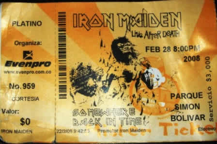 The Ticket for Iron Maiden in Colombia
