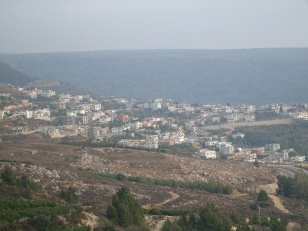 The Druze Village of Ein Kinya in the Goland Heights, disputed by Israel and Syria, as seen from Nebi Hazuri's tomb
