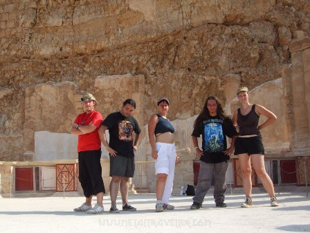 Metal Traveller, Ricardo, Camilo, Irene and Stéphanie at Herod's Northern Palace, Masada, Israel