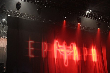 The curtain covering the stage for Judas Priest Epitaph Tour