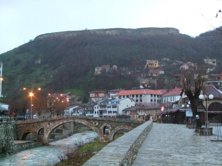 Prizren in Kosovo with the old Castle Ruins