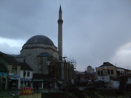 Shadervan Square in Prziren: Sinan Pasha Mosque and St georges Church.