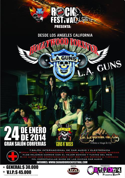 L.A. Guns in Colombia poster Car Audio Rock Festival