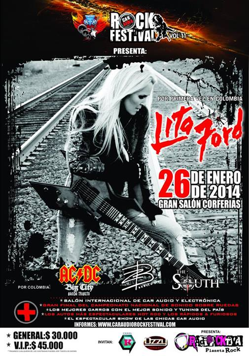 Poster for the Lita Ford concert in Colombia