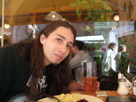 Metal Traveller having lunch in Vilnius, not far from the University