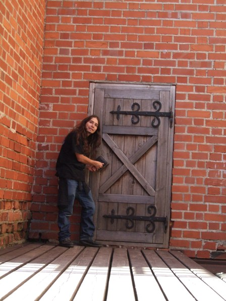 The Metal Traveller wondering where does that door leads. Trakai Island Castle, Lithuania