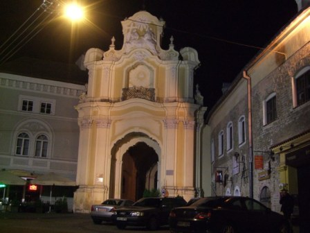 Gates of the Church of he Holy Trinity in Vilnius, by night